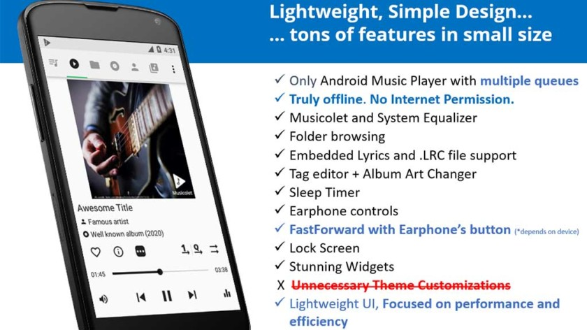 """Kuvakaappaus Musicoletista, yhdestä parhaista Android-soittimen sovelluksista """"width ="""" 840 """"korkeus ="""" 472"""