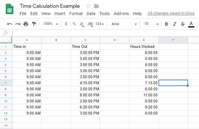 Cara Menghitung Waktu di Google Sheets 2