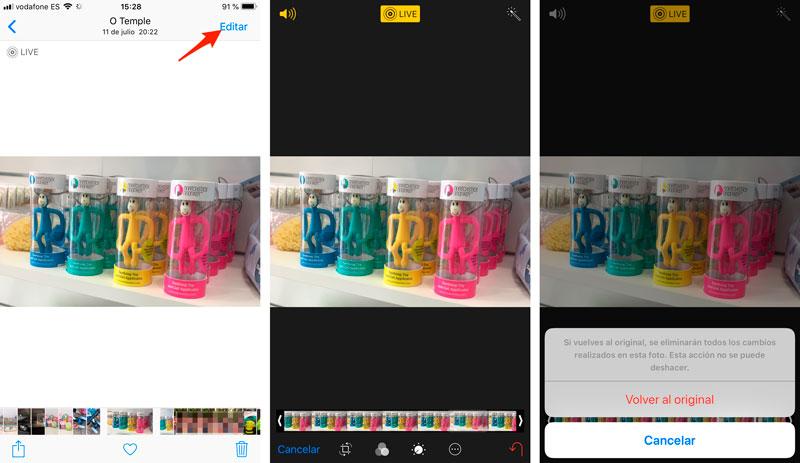 Cómo restaurar a la foto original en iPhone