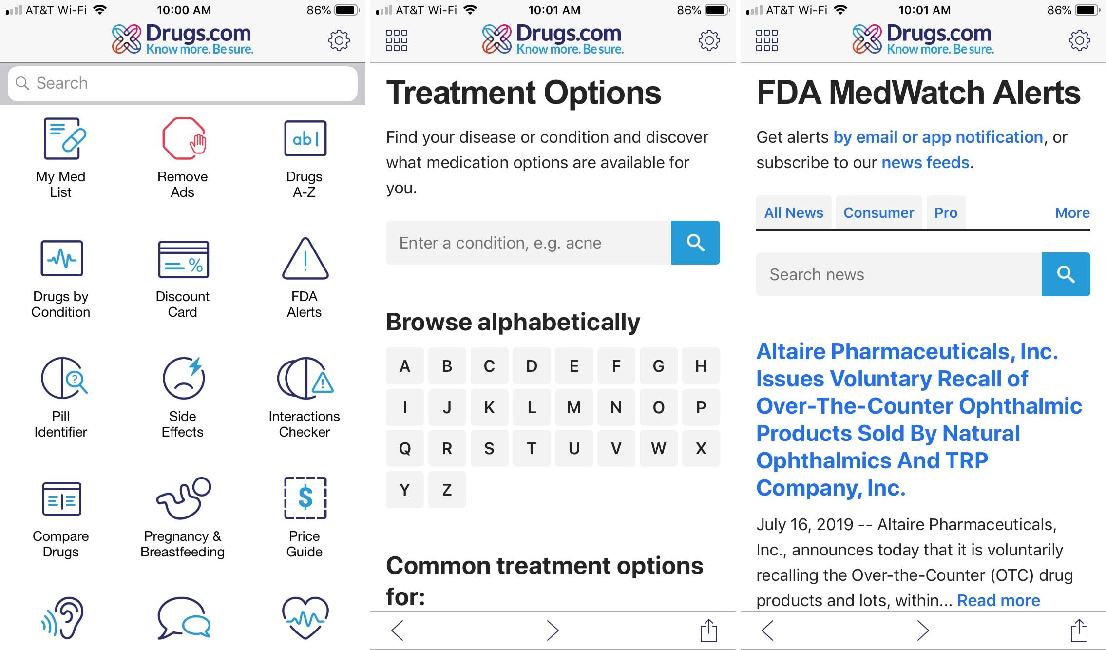 The iPhone DrugsDotCom application