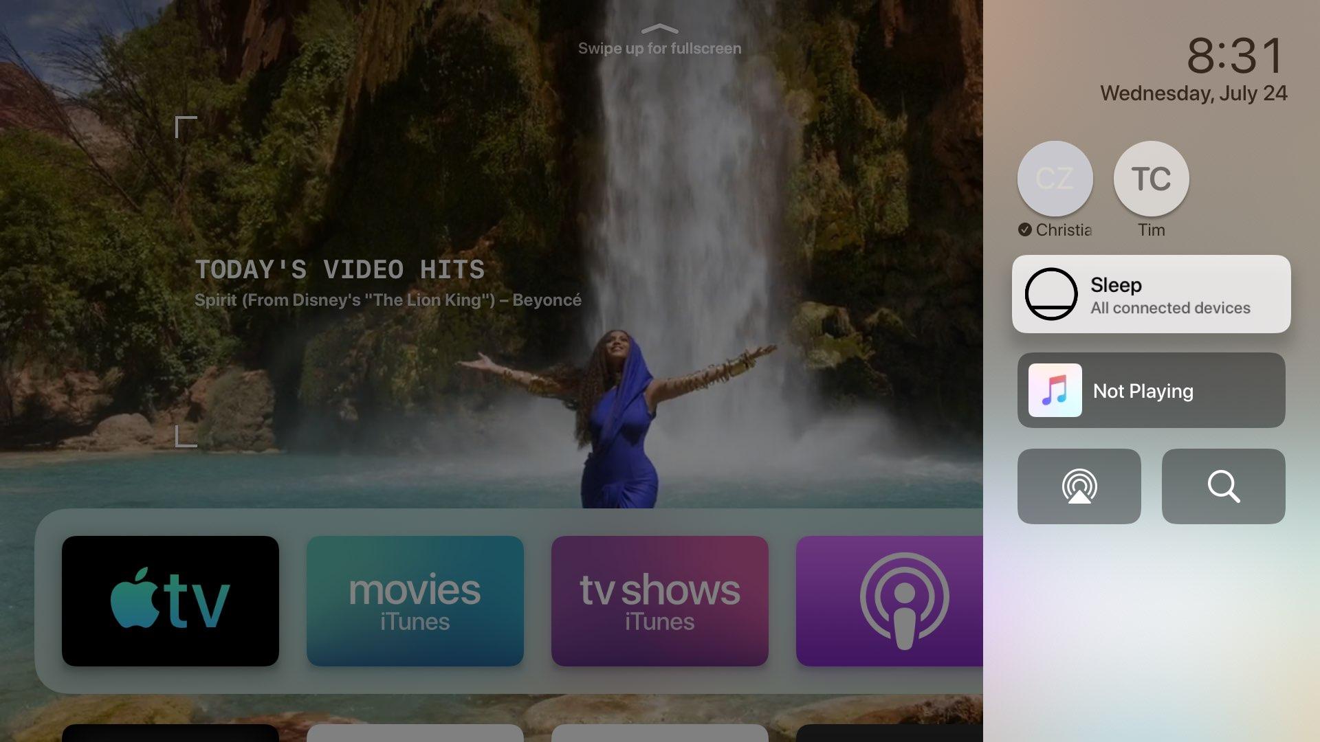 Riadiace centrum TvOS Apple televízia