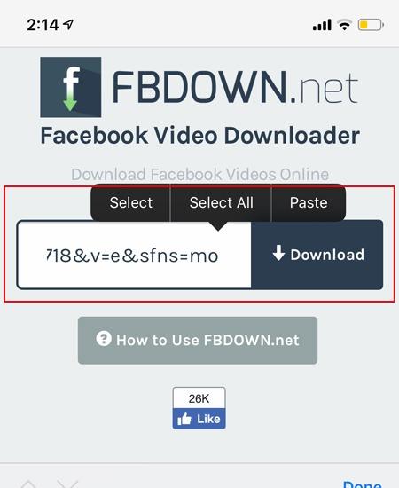 yükləyin Facebook Video bağlantısını yapışdırın