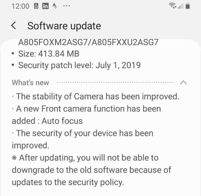Táto aktualizácia vylepšuje fotoaparát Samsung Galaxy A80 2