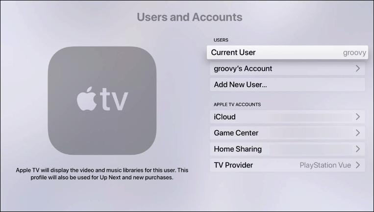 Cómo agregar usuarios y Switch Cuenta activa Apple TV Running tvOS 13 4