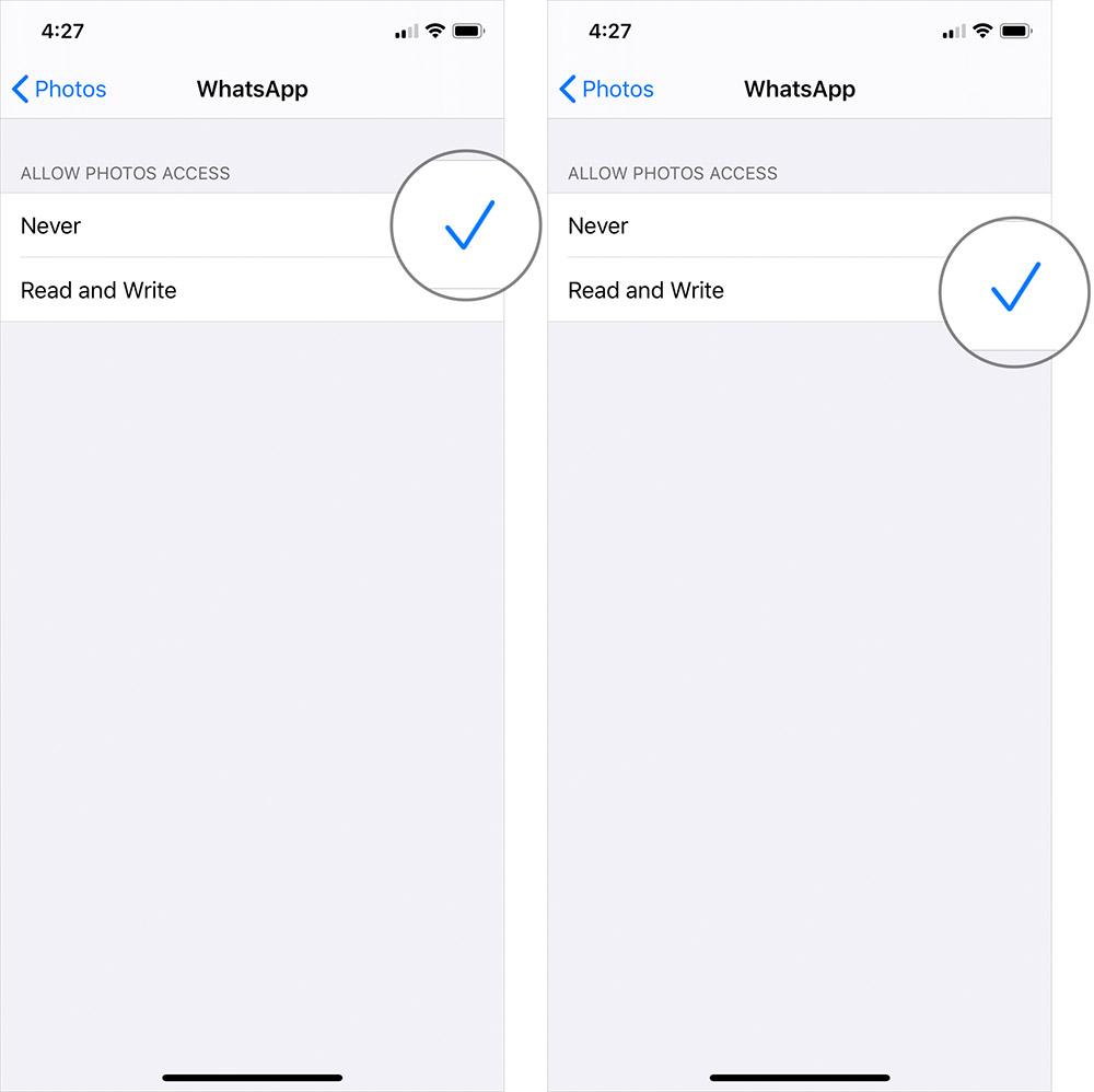 Permitir fotos para acceder a WhatsApp en iPhone