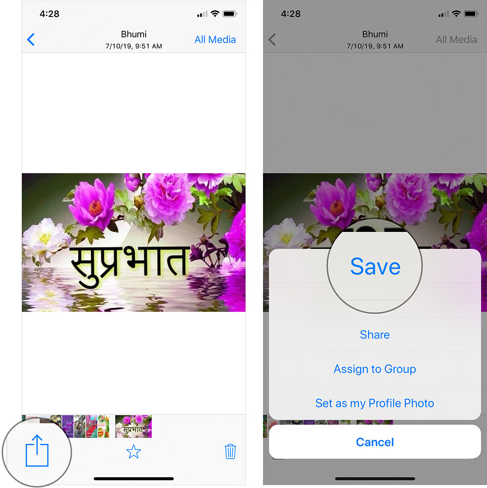 Guardar fotos de WhatsApp manualmente en iPhone