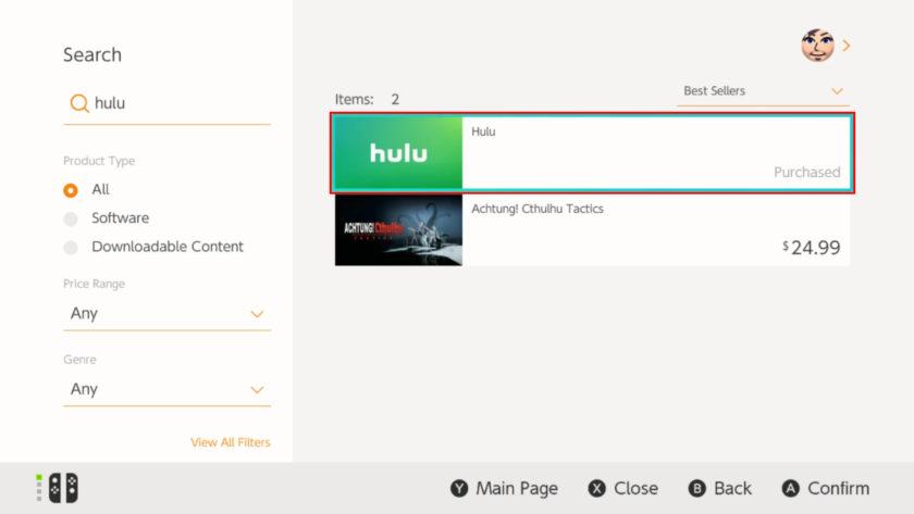 Nintendo Switch        Hulu seçin