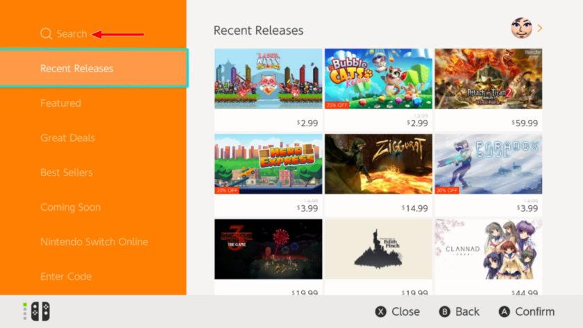 Nintendo Switch    Seleccione Buscar