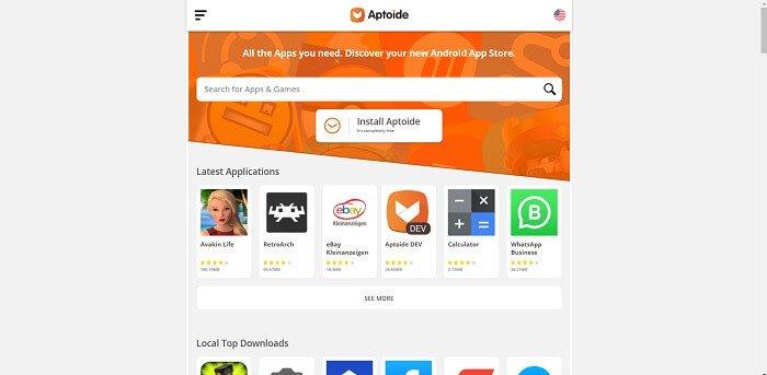 Aptoide mağaza tətbiqi səhifəsi