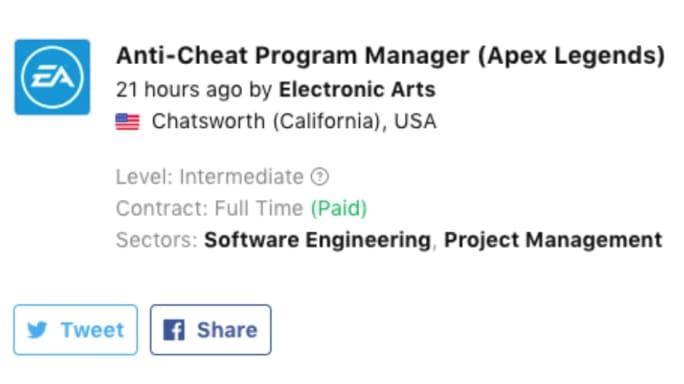 ستقوم EA بإنشاء فريق مكافحة الغش Apex Legend 3