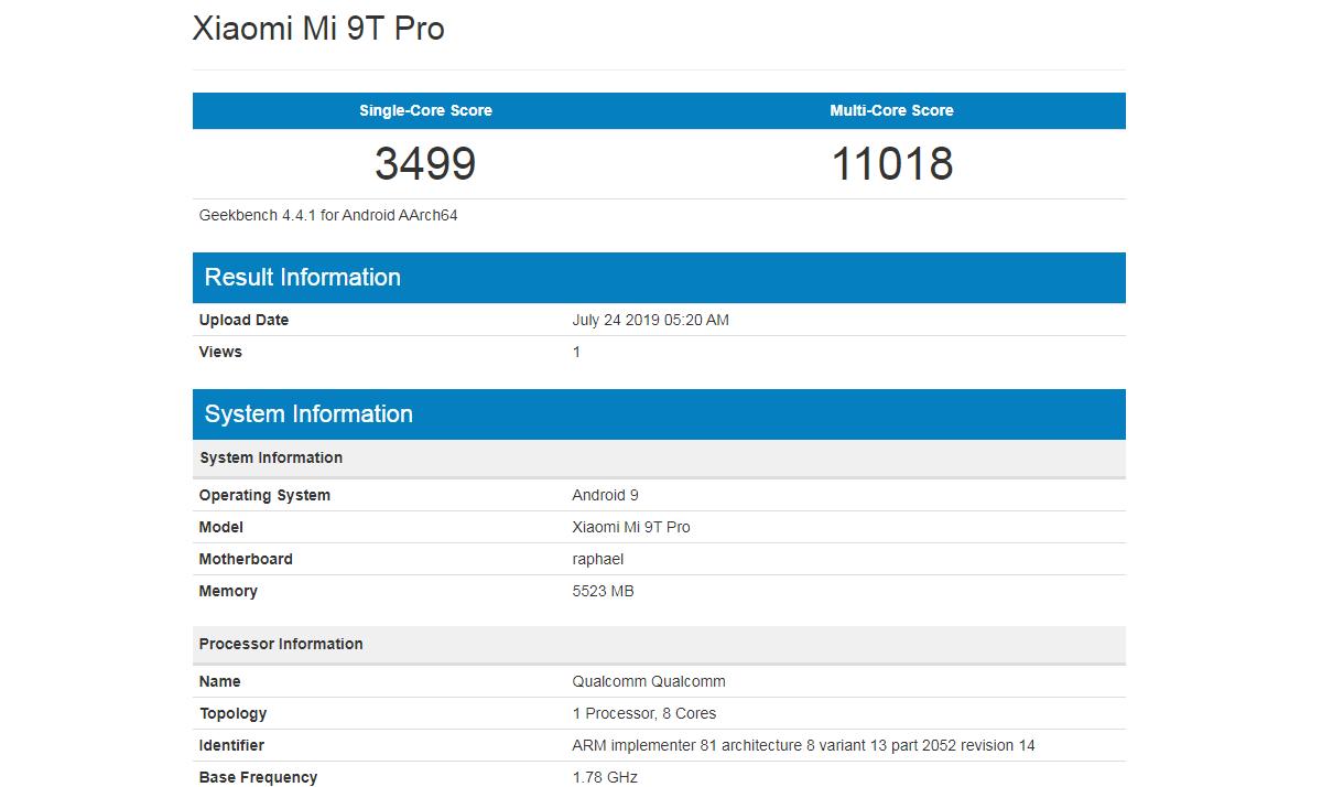 Xiaomi Mi 9T Pro Geekbench
