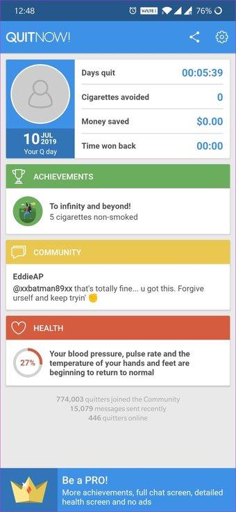 Aplicación para dejar de fumar 24
