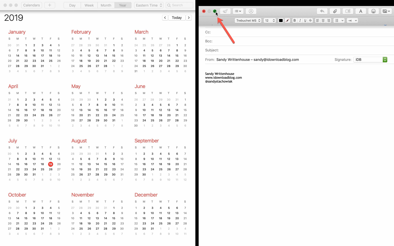 Beenden Sie den geteilten Bildschirm des Mac-E-Mail-Kalenders