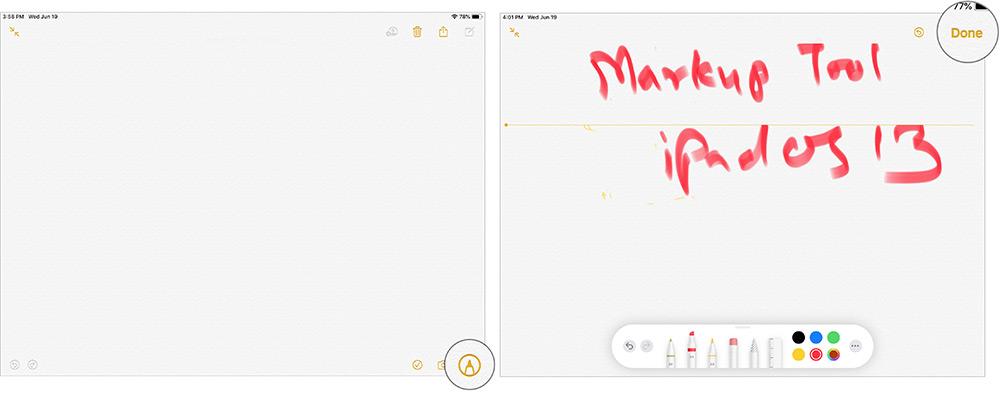Qeydlər tətbiqində iPadOS 13-də işarələyin