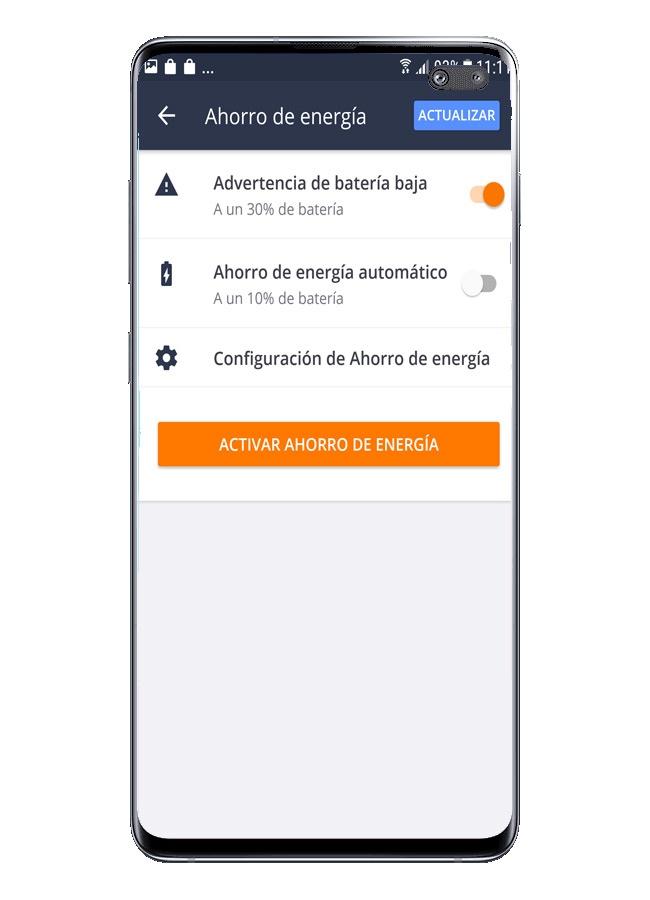 Opsi penggunaan di Keamanan Seluler Gratis Avast