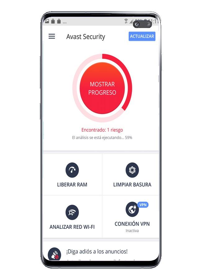 Scannen Sie mit Sicherheitserkennung mit Avast Free Mobile Security
