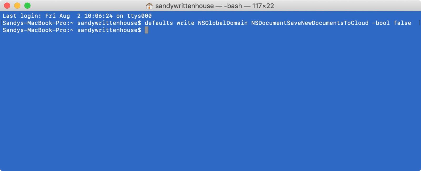 Terminal əmri iCloud-a qənaət etməyi dayandırır