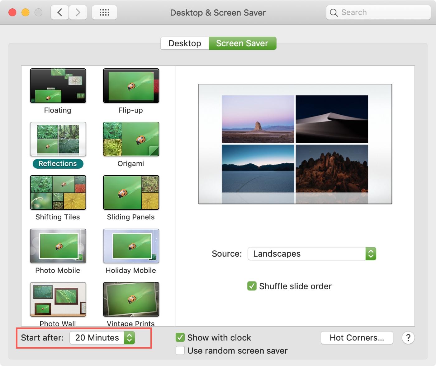 Đặt thời gian tùy chọn màn hình của sistema Mac