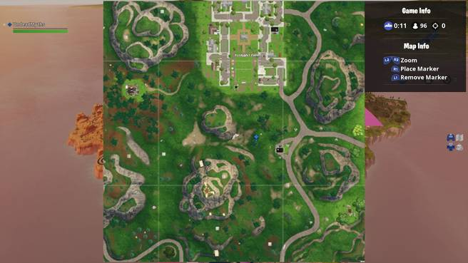 Fortnite    Sunday Treasure Map 4 - Fortnite Search between gas stations, soccer fields and Stunt Mountain 2