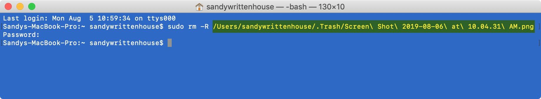 Kôš prázdny názvy súborov terminálov Mac