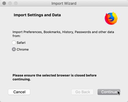 Ändern Chrome In Firefox Import Auswahl von Browserdaten