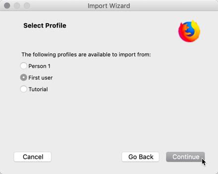 Ändern Chrome In Firefox Import Auswahl von Benutzerdaten