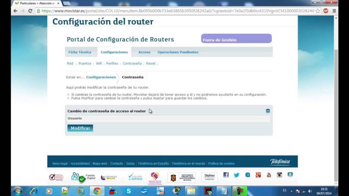 Masuk dengan gateway Movistar default untuk mengkonfigurasi router