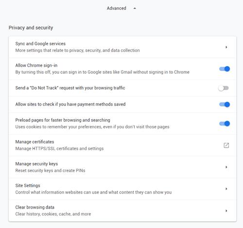 Configuraciones avanzadas Chrome