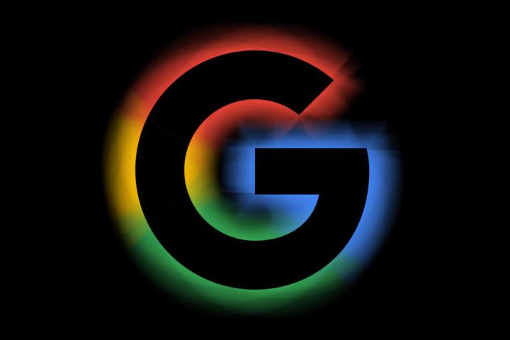 Logotipo de Google con un fondo negro