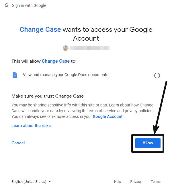 permitir Cambiar caso para acceder a las cuentas de Google