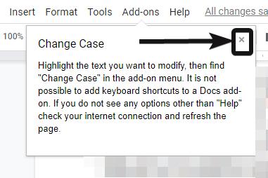 Cambiar el caso de caracteres en Google Docs 5
