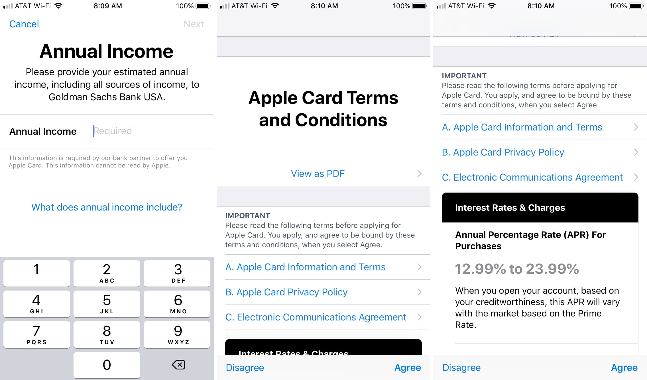 Applicable to Apple Card income and conditions