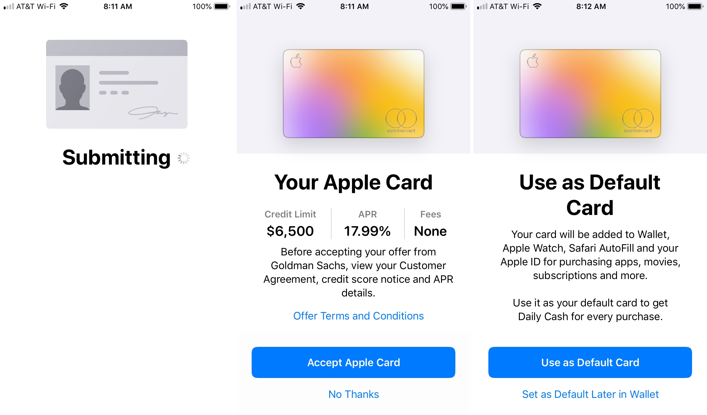 Applicable to Apple Card-approved details