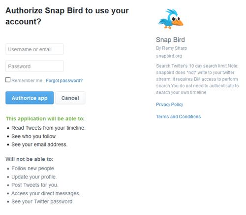 Autorización de Snap Bird