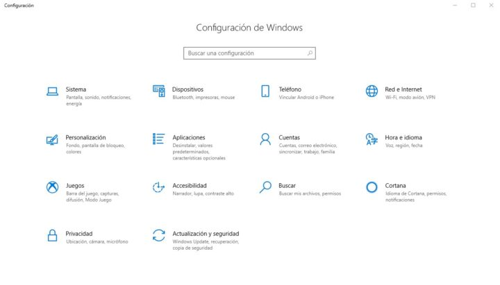 Configuraciones Windows 10