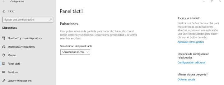Panel táctil Windows 10 sin opciones de panel táctil