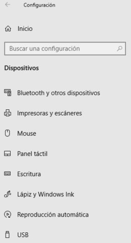 Opciones de dispositivo en Windows 10