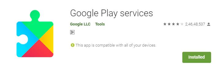 апликација за услуги на Google Play