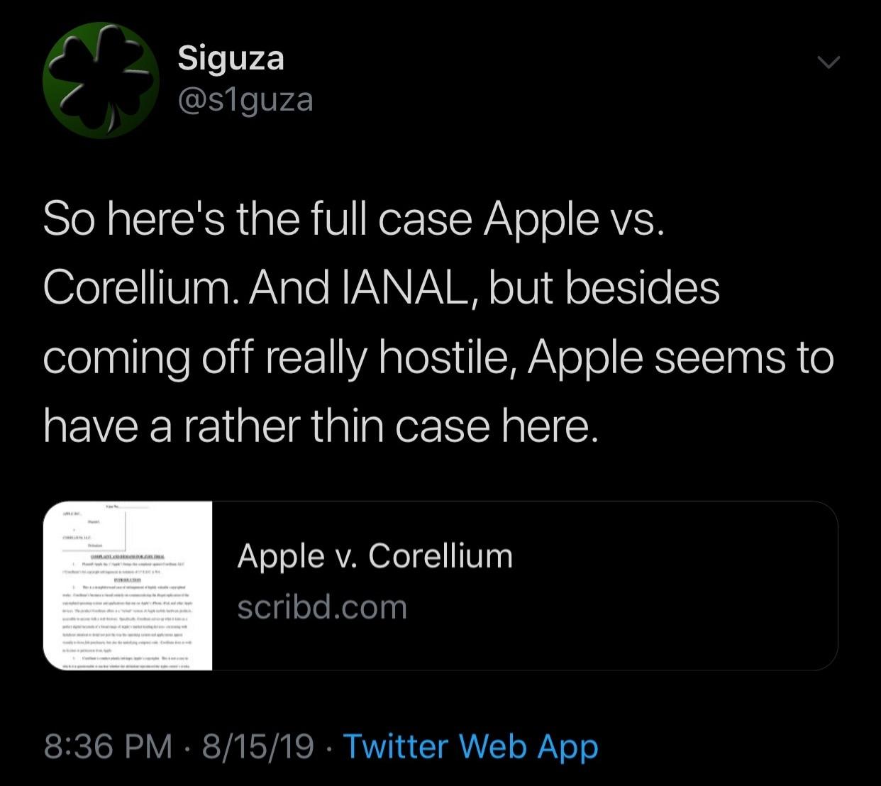 Apple  demandando a la compañía de virtualización de dispositivos móviles de Corellium, citando
