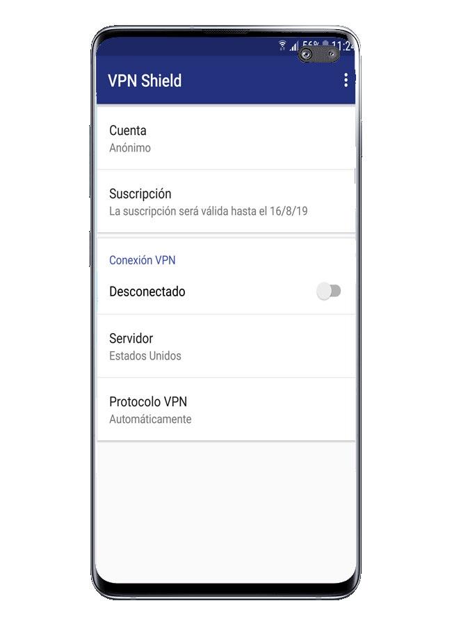 Interfaz de aplicación VPN Shield