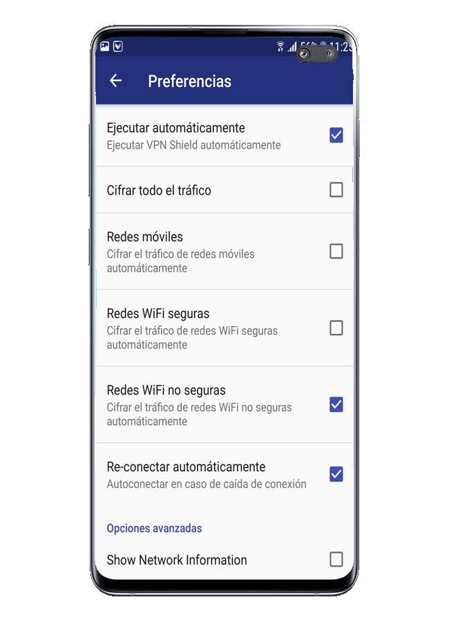 Opciones de configuración en VPN Shield