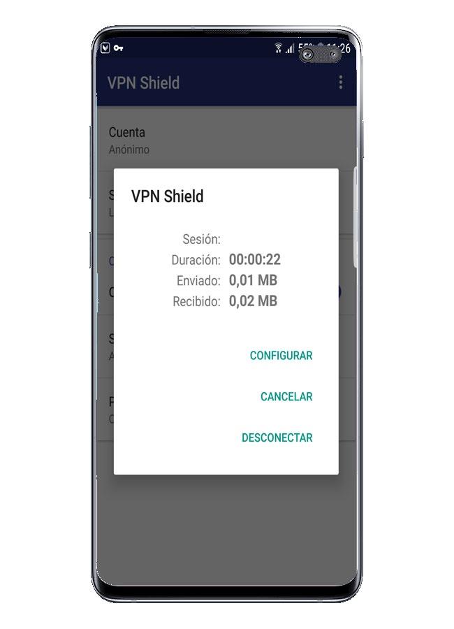 La conexión se realiza en VPN Shield