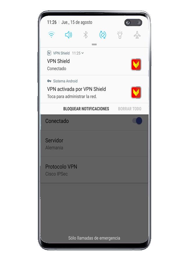Tarjeta en VPN Shield