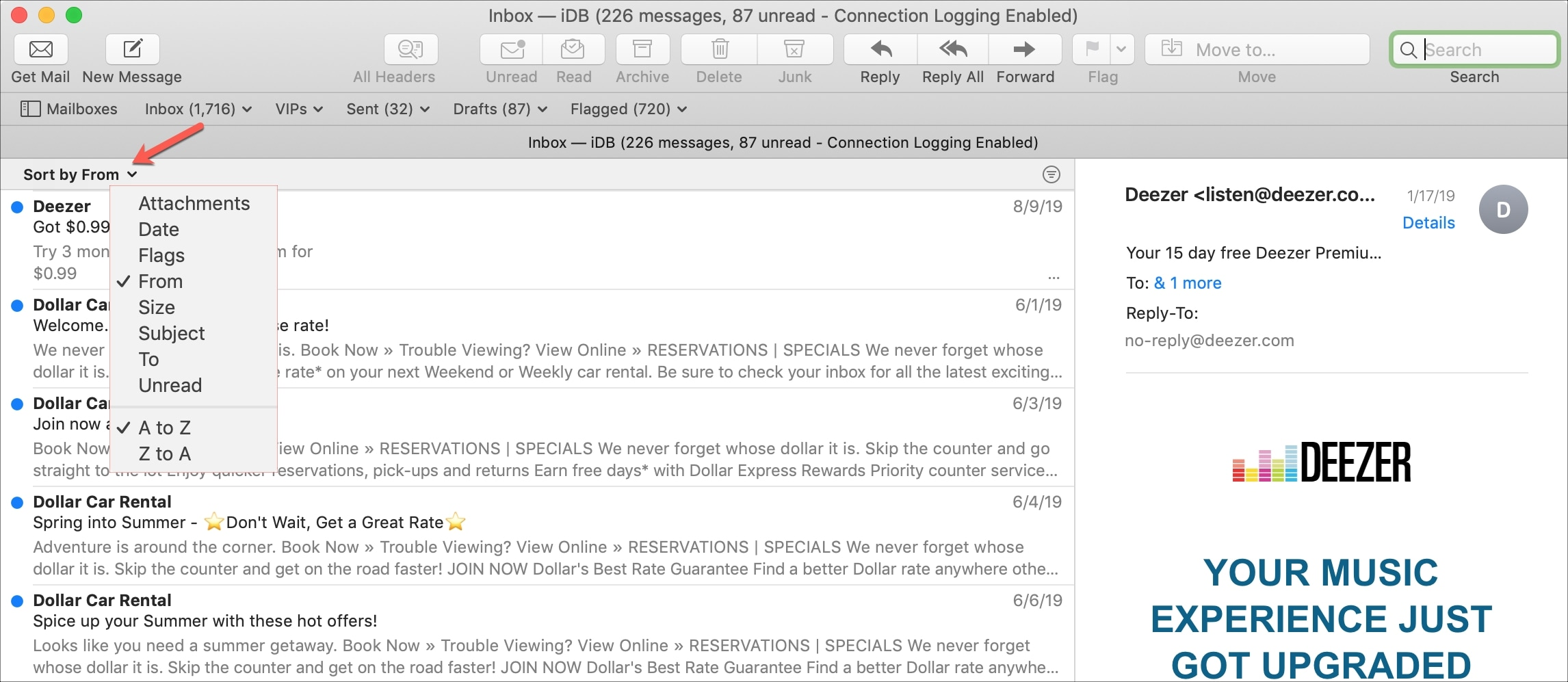 Sort emails from default layout