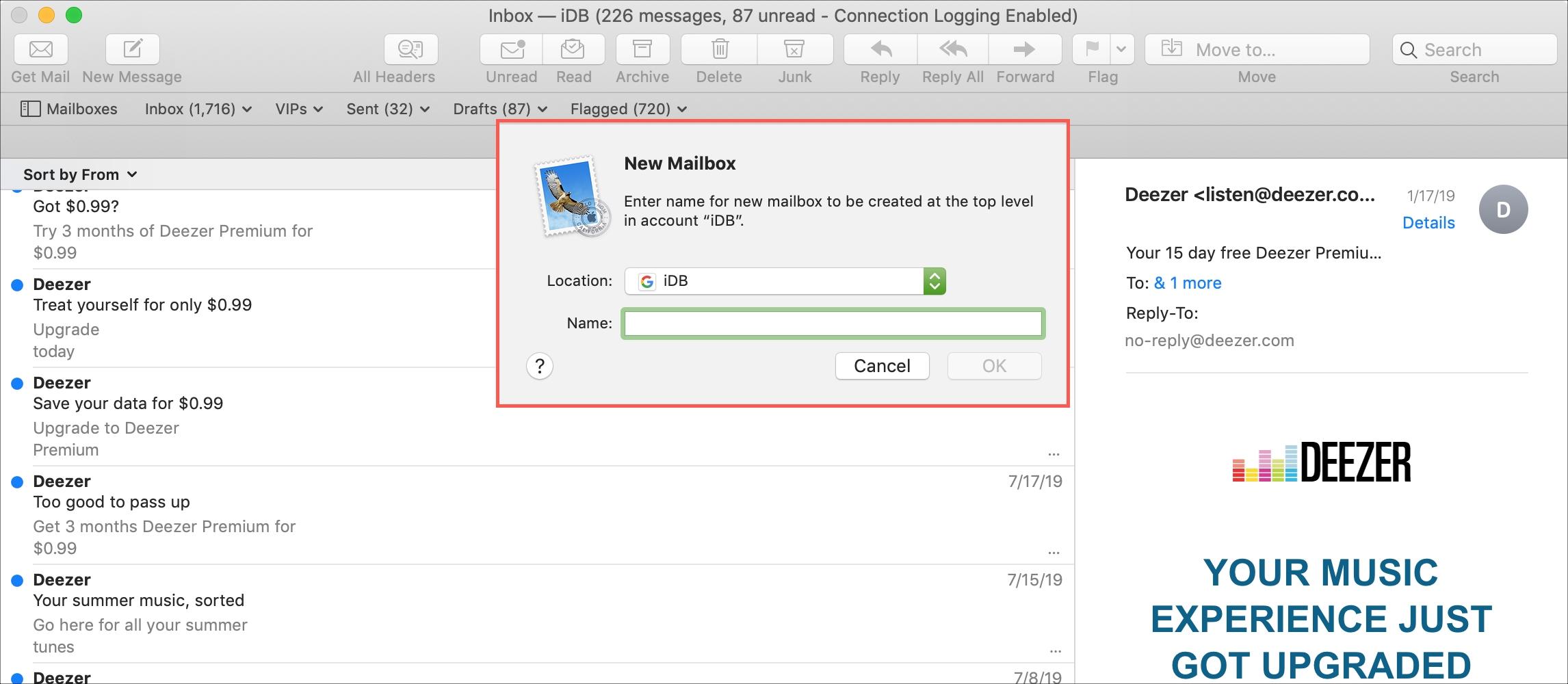 Create a new Mac mailbox