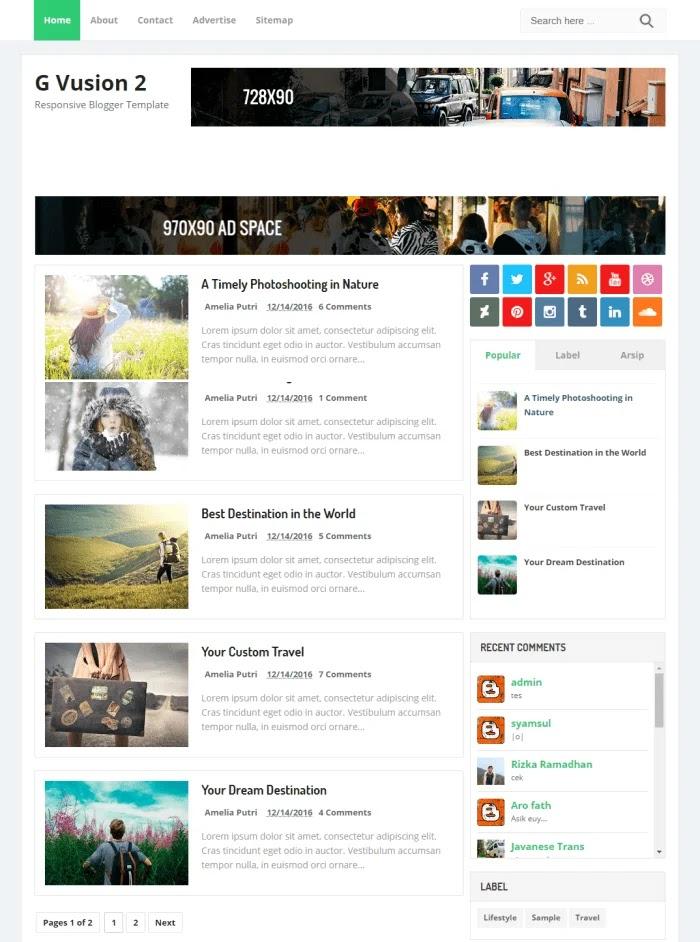 G Vusion 2 Template Blogger Responsif Gratis Terbaik