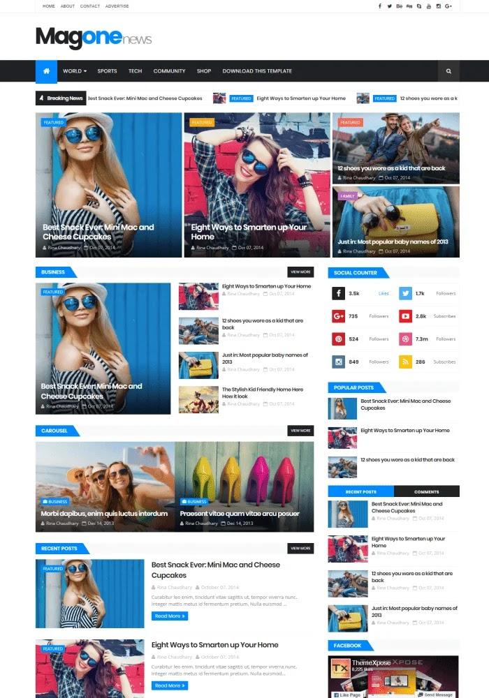 MagOne News Template Blogger Gratis Responsif Terbaik