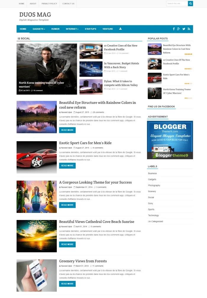 DUOS MAG Template Blogger Gratis Responsif Terbaik