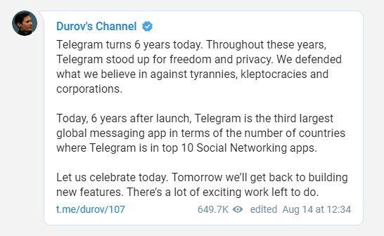 Telegram altıncı doğum gününü WhatsApp'ı məğlub edən yeni bir yeniləmə ilə qeyd edir 1