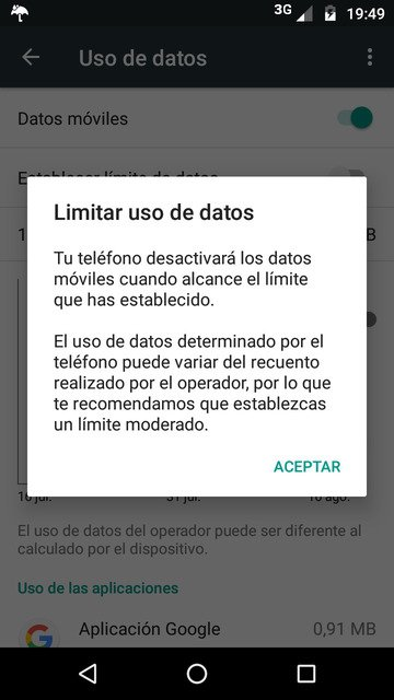 Data limit warning /